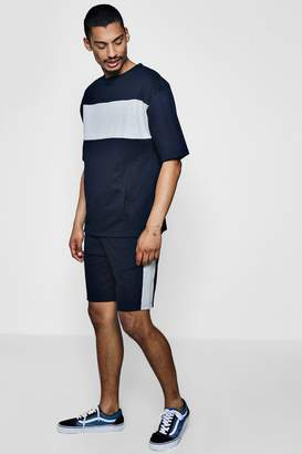 boohoo Short Sleeve Colour Block Sweater With Shorts