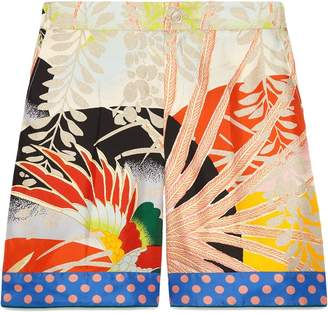 Gucci Tropical Print Silk Shorts