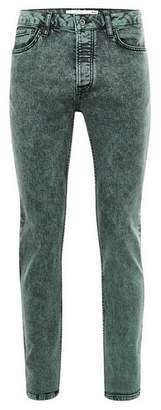 Topman Mens Green Acid Wash Stretch Skinny Jeans