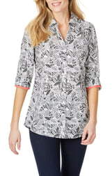 Foxcroft Faith Leaf Print Wrinkle Free Tunic Shirt