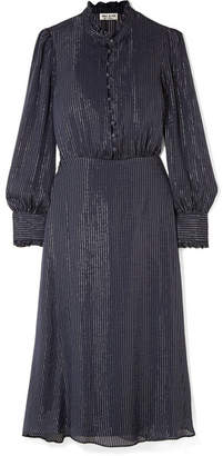 Paul & Joe Ruffle-trimmed Metallic Striped Silk-blend Chiffon Midi Dress - Navy