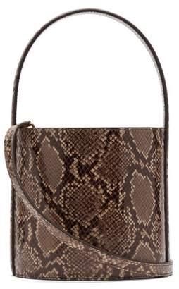 STAUD Bissett Python Effect Leather Bucket Bag - Womens - Python