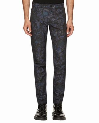 Burberry Floral-Jacquard Skinny Jeans, Navy $795 thestylecure.com