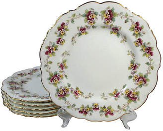 One Kings Lane Vintage Pansy Flower Cauldon Lunch Plates - Set of 6 - Stucco Mansion Antiques