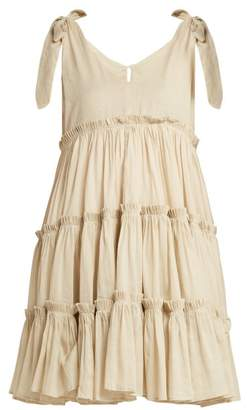 Innika Choo Tiered Ruffle Trimmed Ramie Mini Dress - Womens - Beige