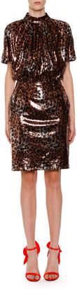 MSGM Sequin Leopard-Print Mock-Neck Backless Dress