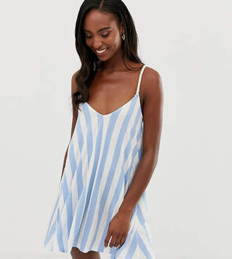 Asos Tall DESIGN Tall jersey beach sundress in stripe with rope tie