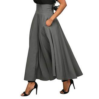 621ed89bf08d air-SMART Women High Waist Belted Casual A-Line Pleated Midi Skirt Pocket (