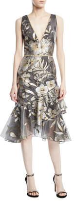 Marchesa Metallic Fil Coupé; Asymmetric Ruffle Cocktail Dress