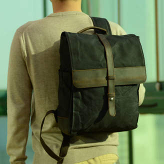c42c3fb3e EAZO Front Leather Strap Waxed Canvas Backpack
