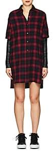 ADAPTATION Women's Leather-Sleeve Plaid Cotton Shirtdress - Black