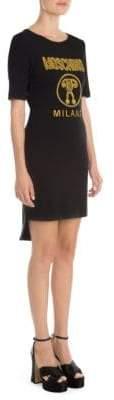 Moschino Women's Graphic Logo Tee Dress - Black Multi - Size 42 (8)