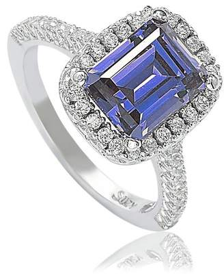 LeVian Suzy Jewelry Sterling Silver Asscher Cut Blue CZ Solitaire Ring