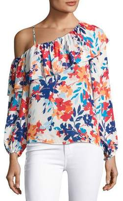 Parker Taj One-shoulder Floral-Print Silk Blouse, Multi $220 thestylecure.com