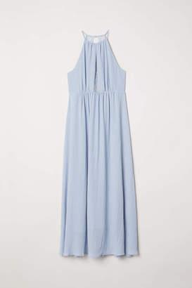 H&M H & M+ Long Dress with Lace - Light blue - Women