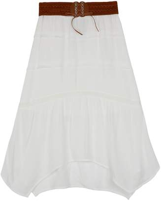 Amy Byer Iz Girls 7-16 IZ Crepon Tiered Sharkbite Hem Maxi Skirt