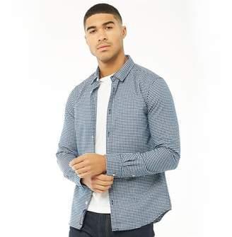 Superdry Mens Fine Flannel Long Sleeve Shirt Nevada Blue Gingham
