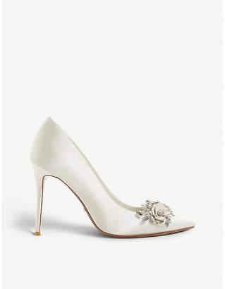 Dune Brydee embellished satin pointed-toe court shoes