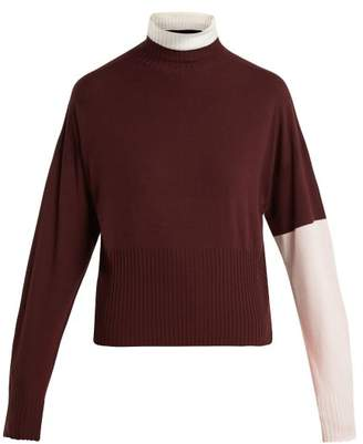 Sportmax Plava Tricolour Sweater - Womens - Burgundy Multi