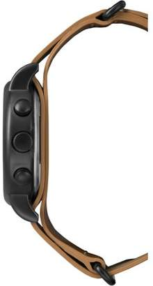 Timex Weekender Chrono Black Watch, Tan Leather Slip-Thru Strap