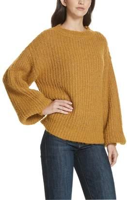 Milly Metallic Bishop Sleeve Sweater