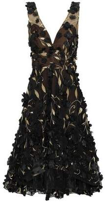 Marchesa Floral-Appliquéd Metallic Embroidered Tulle Dress