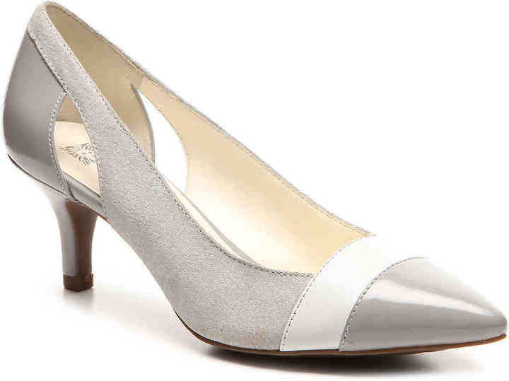 Anne KleinWomen's First Class Pump -Blush Faux Suede/Patent Faux Leather