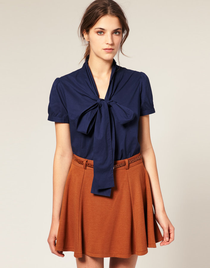 ASOS Short Sleeve Pussybow Cotton Blouse