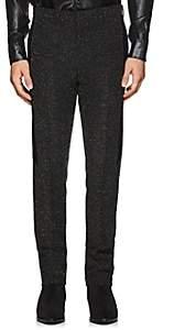 Givenchy Men's Velvet-Trimmed Bouclé Wool Flat-Front Trousers - Black