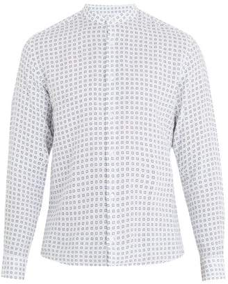 Altea Tile Print Linen Shirt - Mens - White Multi