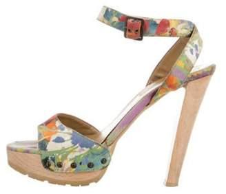 Stella McCartney Floral Platform Sandals Blue Floral Platform Sandals