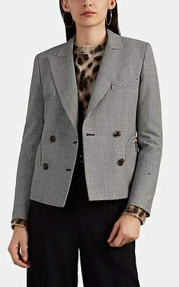 BLAZÉ MILANO Women's Spencer Houndstooth Wool Double-Breasted Crop Blazer - Gray