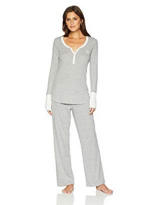 Tommy Hilfiger Women's Long Sleeve Henley Shirt and Logo Pant Lounge Bottom Pj Set