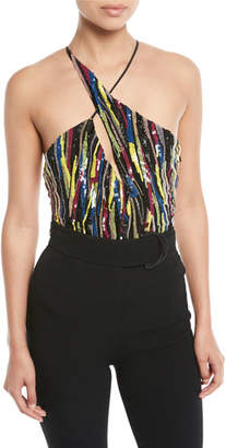 Cushnie et Ochs Multi-Stripe Sequin Asymmetric-Cutout Bodysuit