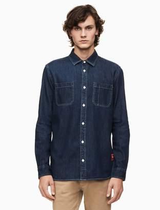 Calvin Klein slim fit denim utility shirt