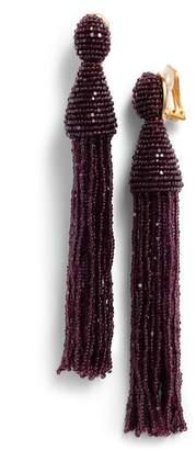 Oscar de la Renta Long Beaded Tassel Drop Earrings