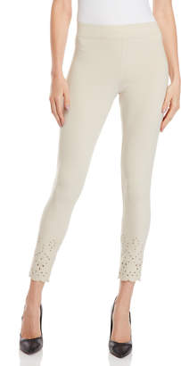 Hue Eyelet Scalloped Trim Leggings