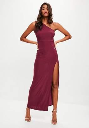Missguided Burgundy Slinky One Shoulder Dress