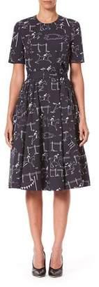Carolina Herrera Short-Sleeve Equestrian-Print Poplin Dress
