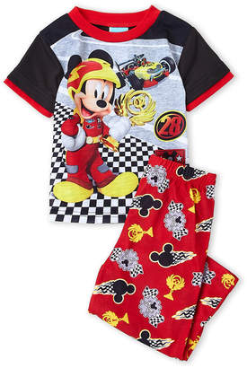 Disney Toddler Boys) Two-Piece Micky Racing Print Tee & Pant PJ Set