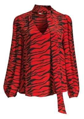 DAY Birger et Mikkelsen Rixo Moss Tiger Print Ruched Waist Ruffled Silk Maxi Dress