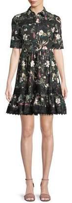 Kate Spade Botanical Short-Sleeve Poplin Mini Dress