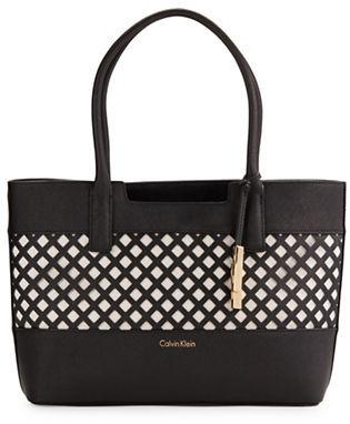 Calvin KleinCalvin Klein Saffiano Leather Embellished Tote