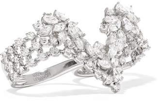 YEPREM - 18-karat White Gold Diamond Two-finger Ring