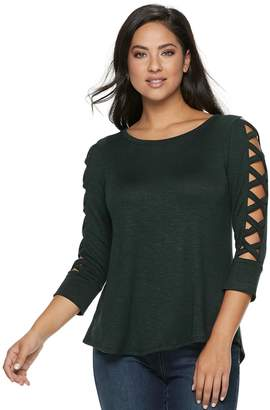 JLO by Jennifer Lopez Women's Strappy-Sleeve Top