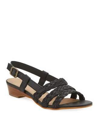 Sesto Meucci Gia Woven Leather Slingback Sandals, Black