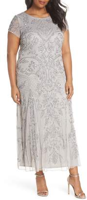Pisarro Nights Beaded Short Sleeve Column Gown