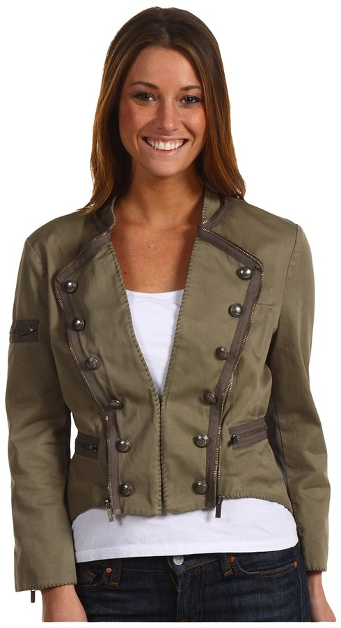 BCBGMAXAZRIA Long Sleeve Military Jacket (Lake) - Apparel