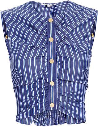 Derek Lam 10 Crosby Ruched Striped Crop Top