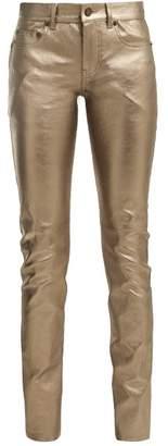 Saint Laurent Metallic Leather Trousers - Womens - Bronze